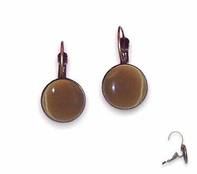 10mm Earrings Lever Backs - Antique Brass Setting & Mid Brown Cat Eyes - Glass