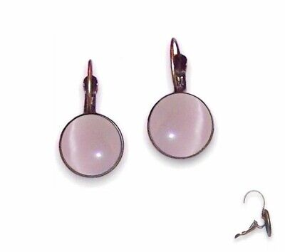 10mm Earrings Lever Backs - Antique Brass Setting & Pale Lilac Cat Eyes - Glass