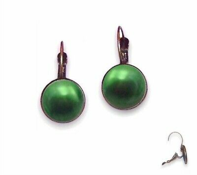 10mm Earrings Lever Backs - Antique Brass Round Setting & Emerald Green Pearl