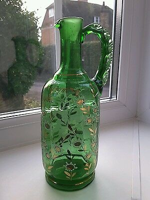 Antique bohemian green glass enamelled & gilt jug marked 'present from Headcorn.