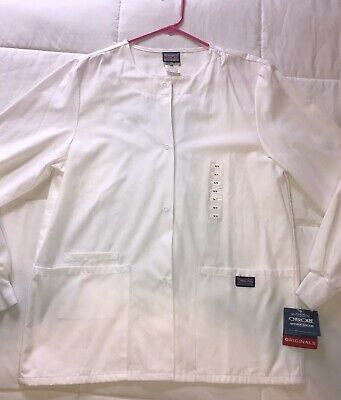 c367c58712a Cherokee Women's Scrubs Snap-Front Warm-Up Jacket White XS #4350 NWT See