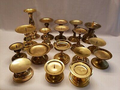 Mixed Lot of 18 Vintage Brass Large Candle Holders Candlesticks Weddings