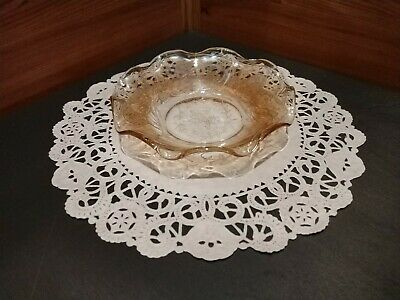 1 Small Unmarked Iridescent Marigold Carnival Glass Candy/Mint/Nut Dish