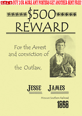 Old West Wanted Posters Outlaw Jesse James Western Bank Rob Reward