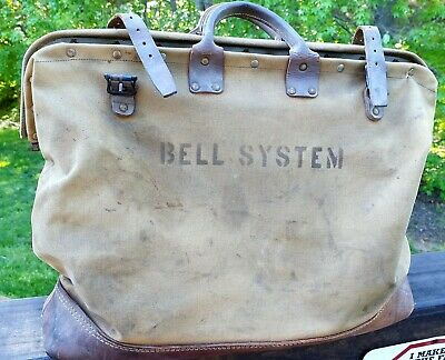 Bell Telephone System Lineman Bag Canvas & Leather Extremely Scarce Vintage