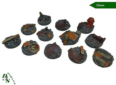 32mm Round Resin Scenic Infantry Bases Urban/Rubble #2 Space Marine 40K