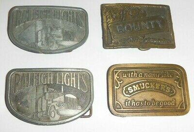 Lot Of 4 Belt Buckles Smuckers Raleigh Lights Bounty Free Shipping