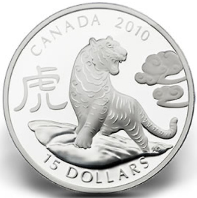 2010 Canada Year of the Tiger Round 1oz .9999 Proof Silver Coin - Box & COA