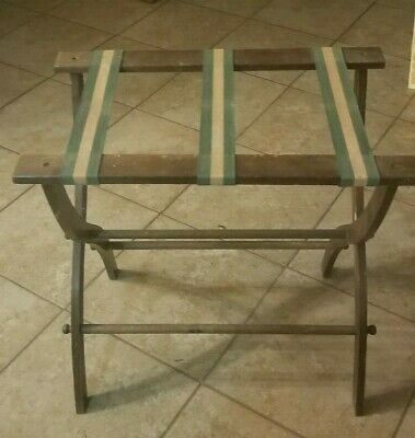 Vintage  Mid Century Wooden Folding Luggage/Suitcase Wood Rack/Stand