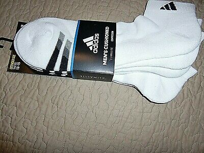 b37752ea72d3 ADIDAS Men Socks 3 Pairs Pk X-Large XL LOW CUT White CLIMALITE Compression  Cushi