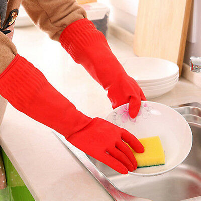 Household Rubber Gloves Long Sleeve Washing Cleaning Kitchen Protect Hand Hot AU