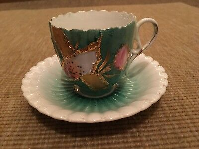 Antique Cup And Saucer Souvenir Ware Green