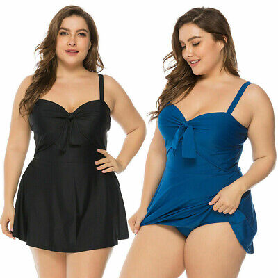 Women Plus Size Swimdress Two Piece Swimsuit Swimwear Push-up Bra Padded Tankini