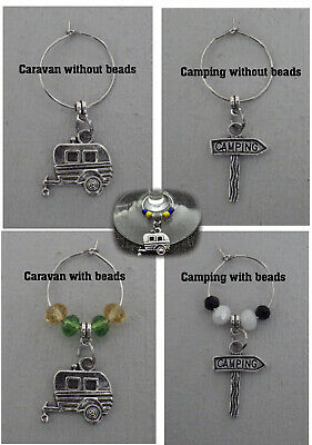 NEW 1xCamping, Caravan Wine Glass Charm  FREE POSTAGE. Choose the bead colour