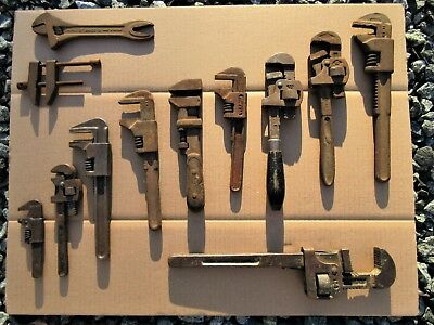 Vintage HUGE Pipe Wrench Lot Ford BAHCO Volvo Alligator Wrench Starrett Clamp