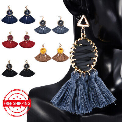 5 Colors Bohemian Long Tassel Fringe Boho Ear Stud Dangle Earrings Women Jewelry