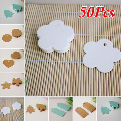50pcs/set Blank Kraft Paper Hang Tags Wedding Party Favor Label Price Gifts
