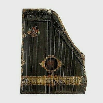 Antique American-French Zither Guitare La Merveilleuse H 44 CM .Antique Stringed