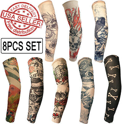 8PCS Tattoo Cooling Arm Sleeves Cover UV Sun Protection Outdoor Sports Golf