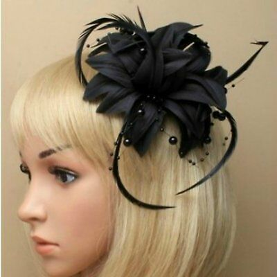Black Beaded Flower Feather Fascinator Beak Clip Brooch Pin - Wedding & Parties