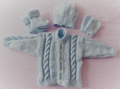 Hand knitted cable patterned cardigan,hat,mitt,booties in blue baby boy newborn