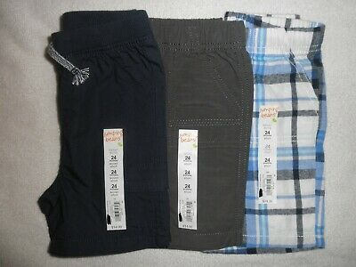 Jumping Beans Infant Boys Shorts size 24 months lot of 3 pairs gray, blue, plaid