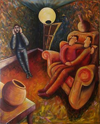 Very Large Unusual Original Oil Painting On Canvas - Three Men In A Sitting Room