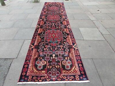 Old Traditional Hand Made Persian Rugs Oriental Wool Blue Long Runner 461x108cm