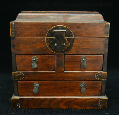 Chinese Huang Huali Wood Box Cupboard cabinet sark Stockpile Case Casket Statue