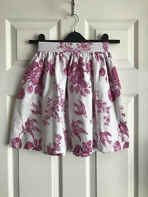 Joules Pink & White Floral & Bird Print Skirt Size 8 Yrs