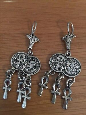 Big Offer £8.99  Ankh cross and  Lotus Fine Egyptian 800 Silver Earring