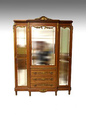 A 19Th Century French Mahogany & Tulipwood Breakfront Secretaire Wardrobe