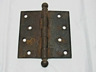 "Antique Iron Hinge Interior Exterior Door Ball Top Tip Pin 6"" Industrial"