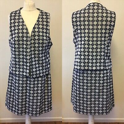 Vintage 1960s Waistcoat And Skirt Blue Grey Size 12