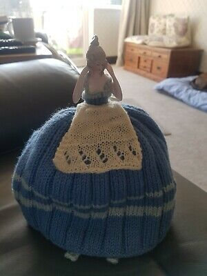 Vintage 40s/50s Half Doll Teapot Warmer Tea Cosy with Wool Knitted Skirt