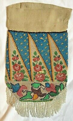 """ANTIQUE MICRO BEADED DRAW STRING PURSE 8"""" x 5""""  NOT INCLUDING TOP AND FRINGE"""