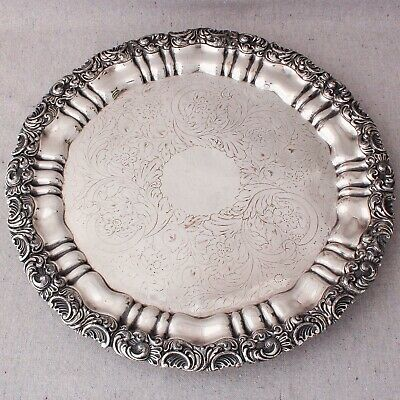 Antique Georgian Victorian Old Sheffield Plate Silver Tray Platter Salver 14""