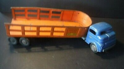 Vintage~1950s~Structo Mfg~Overland Freight Lines~Truck Trailer~Toy Pressed Steel