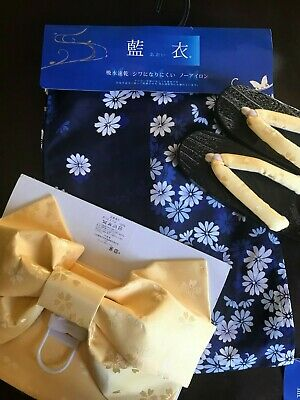 Japanese Women's Yukata, Obi, and Geta Sandal Set