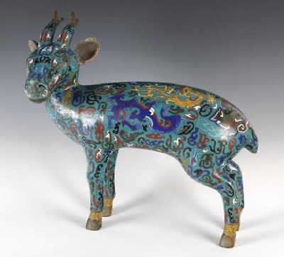 Antique Chinese Cloisonne Deer 17 Inches H