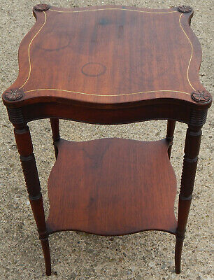 Antique Edwardian Wood Two Tier Lamp Table Inlay 9203 Pencil Signed Stickley Bro