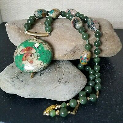 Antique Green Nephrite Jade and Cloisonne Bead Mushroom Pendant Necklace 22""
