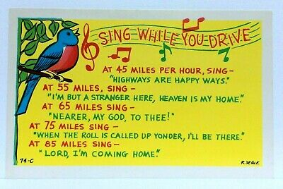Tucumcari NM Route 66 Palomino Motel Sing While You Drive Comic Vintage Postcard