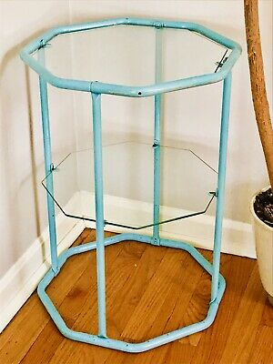 Vintage 1950s Side Table Blue Metal Glass 2 Tier Octagon