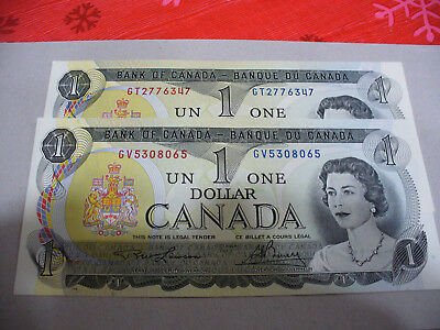 Lot Of 2  1973   Canada One 1 $  Dollar Bill  1973  See Photos  Lot D