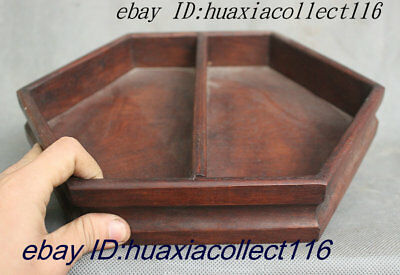 "11"" Old Chinese Dynasty Palace Rosewood Wood Hexagon Yin-Yang Tray Salver Saucer"