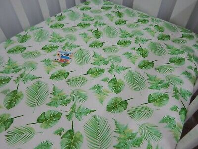 Palm Fern Fitted Cot Sheet 100% Cotton Fits up to 79 x 130cm Mattress