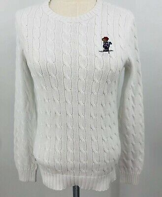 Ralph Lauren Womens Polo Bear Sweater RL 13 Skiing White size m Cableknit