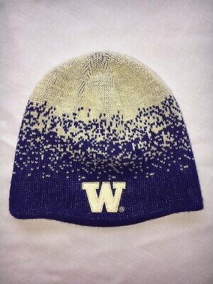 13c30a85209 Washington Huskies NCAA Purple Gold Fade Beanie Knit Cap Hat University UW