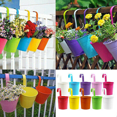 10 Colors Flower Pot Hanging Pots Balcony Garden Plant Metal Hook Iron Planter